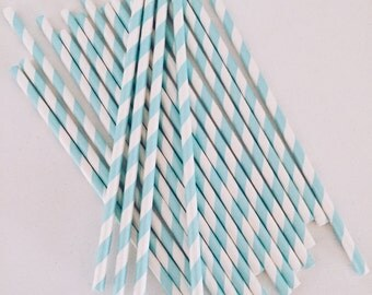 Turquoise Blue and White Striped Paper Straws