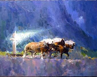 Spiritual Art| Religious Art | Horse Art | Giclee print of PALETTE KNIFE Religious Art Oil Painting On Canvas