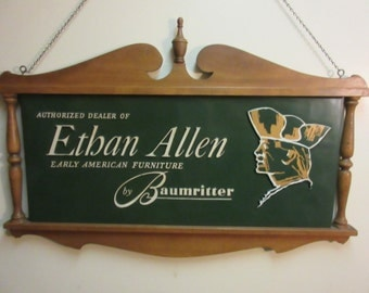 Rare Ethan Allen Baumritter Maple Nutmeg Double Sided Hanging Dealer Sign