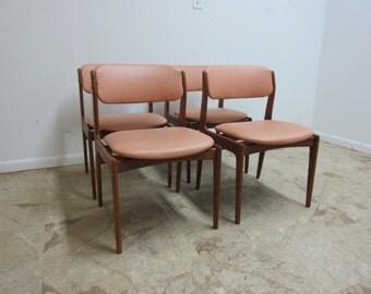 4 Vintage Danish Modern Mobler Teak Floating Dining Room Chairs Set