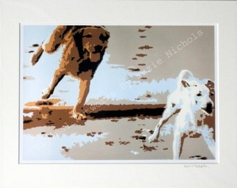 Beach Dogs Giclee Print- Quality A4 Giclee Print by Artist Suzie Nichols, dog, art, painting, pop art
