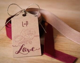 """30 étiquettes kraft  """" Love """" + initiales"""