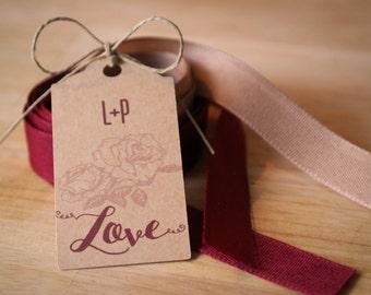 "35 labels kraft ""Love"" + initials"
