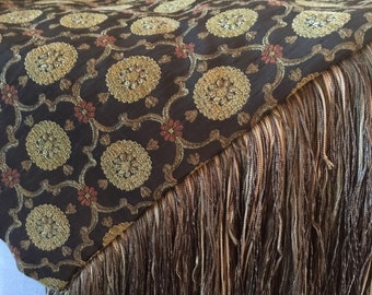 Warm Brown Tapestry Throw Blanket