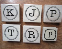 "Letter ""K"" ""J"" ""P"" ""T"" ""R"" Smaller P Initial Monogram Rubber Wooden Stamp Birthday Wedding Baby Shower Card Envelope Scrapbooking Diary Tag"