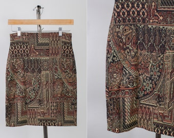 SALE***90s Italian Express Neutral Earth Tones Patterned Mini Skirt size SMALL