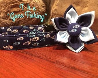 Dog collar, Fish dog collar, collar flower, fish flower, dog flower, fishing dog collar, blue dog collar, fishing flower, collar flower