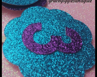 12 Glitter Mermaid Cupcake Toppers, Under The Sea Cupcake Toppers, Baby Shower Cupcake Toppers