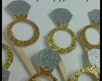 12 Glitter Engagement Ring cupcake Toppers, Diamond Ring Cupcake Toppers