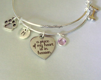 A Piece Of My HEART Dog Charm Bracelet W/ Birthstone Drop / INITIAL / Memorial Bangle  / Lost  Of Pet  Bracelet / Gift For Her - Usa  P1