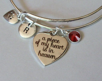 A Piece Of My HEART Cat Charm Bracelet W/ Birthstone Drop / INITIAL / Memorial Bangle  / Lost  Of Pet  Bracelet / Gift For Her - Usa - P1