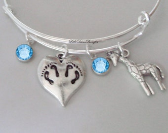 TWINS Charm / Giraffe  Bangle W/ Two Birthstones / New Mother Bangle /  Baby Shower Gift / Adjustable Silver Bangle Under 20  USA   TW1