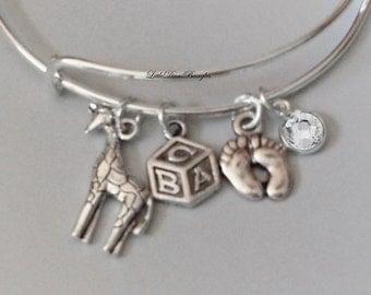 Giraffe  / Block / BABY Feet  Charm W/ Birthstone / New Mother Adjustable Silver Bangle  / Baby Shower Gift  - M1N