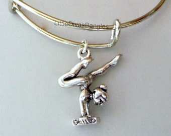 Add A  INITIAL / Gymnastics Silver CHARM Adjustable Bangle / Personalize Your Bracelet / Sport Charm /  Gift For Her- Sp1