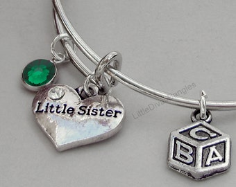 Girls -  Little Sister / BABY Block Charm Bangle  W/ Birthstone / Initial Charms New Mothers  Gift For Her Under 20 Usa F1