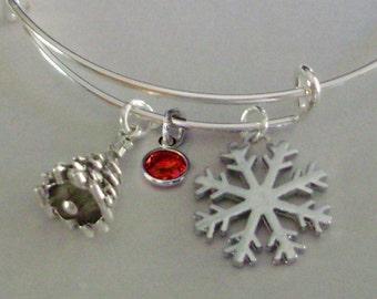 Christmas Tree / Snowflake CHRISTMAS Bangle W Birthstone - Adjustable BANGLE -Personalize Your Bangle/ Bracelet  Gift   Under 20  W1