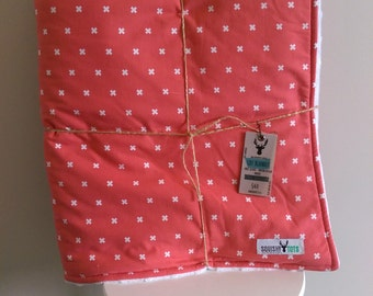 Pink Cross Cot Crib Quilt Blanket
