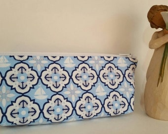Pencil case,brush pouch, knitting notions bag,summer nautical print,Makeup bag, long zipper pouch, Cosmetic purse.