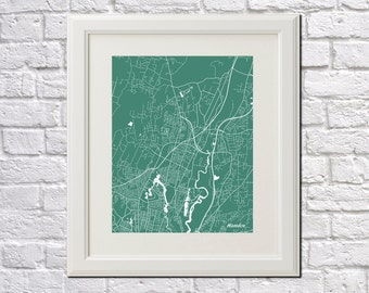 Hamden Street Map Print Map of Hamden City Street Map Connecticut Poster City Art Poster 7028P