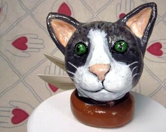 Grey Tabby Cat Ceramic Sculpture