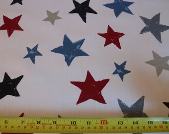 Big Star Fabric - Cotton Panama - Canvas/Duck - Grey-Black-Blue-Red Stars - Children's Fabric - Prestigious - Superstar - Graphite Playtime
