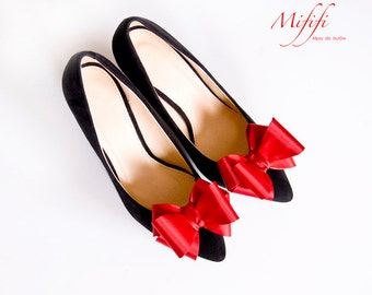 Red 3D Bows Shoe Clips Bridal Wedding Shoe Accessories