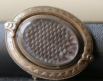 Victorian mourning 1800s jewelry woven lock of hair