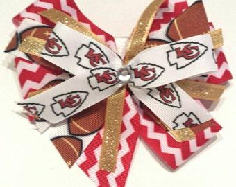 Kansas city chiefs NFL hair bow