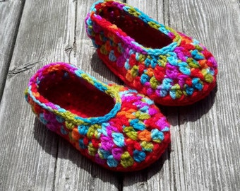 Slippers crochet, kids slippers, colored slippers, Indoor shoes, slippers ballerinas, slippers girl, pink and Red