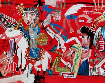 Original modern painting on canvas, oil on canvas, Original modern painting on canvas, red, horse, knight, king