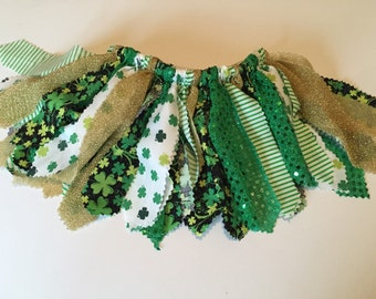 Shamrock Fabric Tutu -- St. Patrick's Day Tutu -- Green Tutu -- Fabric Scrap Tutu -- Shabby Chic Fabric Tutu
