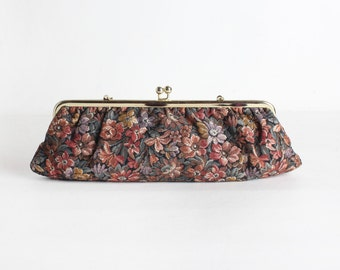 Vintage Floral Tapestry Clutch Purse