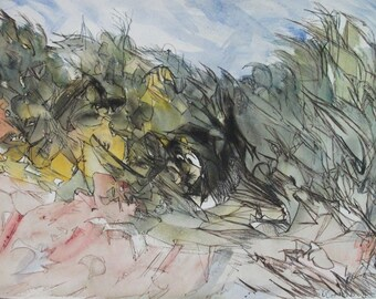 Abstract Landscape Painting Signed By The Artist W. Robinson, Original Watercolour abstract Art, Original Vintage Pen And Watercolour