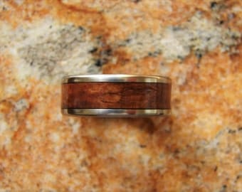 Philippine Ebony Burl wood, titanium ring, wood inlay ring, exotic hardwood, wedding rings, wood inlay, titanium and wood rings, rare wood