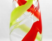 Large Artisan Glass Swirl Vase – Hand Blown Glass Hand Crafted