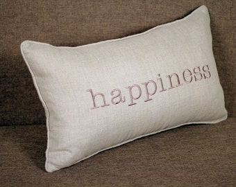 Happiness Sentiment Embroidered Lumbar Pillow/Cushion cover