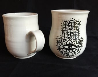 Hamsa Mug Handpainted on Porcelain