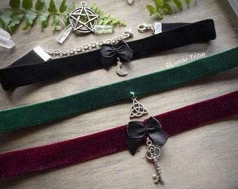 velvet simple cute choker necklace, silver pentagram moon pendant, black velvet necklace, simple black choker necklace, choker with bow