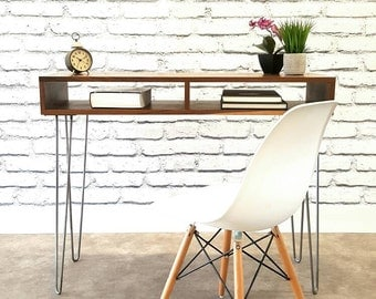 Small Desk, Console Table, Hallway Table, TV Stand, With Mid Century Hairpin Legs