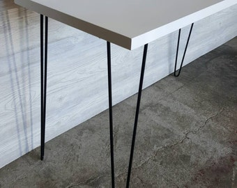 Modern White Console Table, Media Console, Hallway Table, With Mid Century Hairpin Legs, Mid-Century Modern