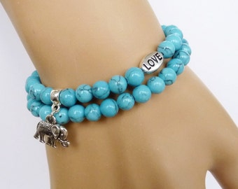 Turquoise Bracelet for girlfriend Gift daughter Elephant Bracelet for women Bracelet for her, Turquoise Jewelry Turquoise Elephant Jewelry
