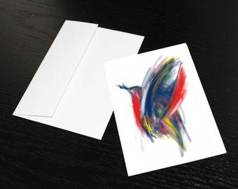 """Lot de 3 cartes de souhaits """"Oiseau rouge, bleu, jaune"""". Format, une fois plié 5x7, intérieur blanc. Enveloppes comprises."""