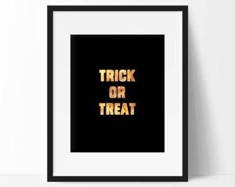 Printable Halloween Decor, Trick or Treat Print Instant Download Halloween Decor, Halloween Party Sign, Halloween Wall Art