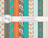 Beach Digital Paper - Wood Textured Backgrounds with Sun, Seashell, and Footprint Patterns with Tropical Orange and Teal, Instant Download