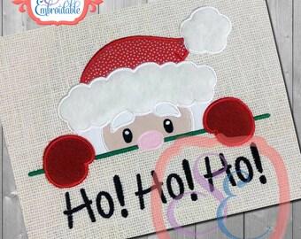 Santa Peeker Applique Design For Machine Embroidery  INSTANT Download