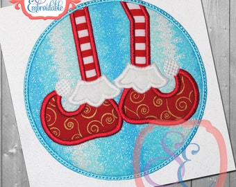 Circle Elf Feet Applique Design For Machine Embroidery  INSTANT Download