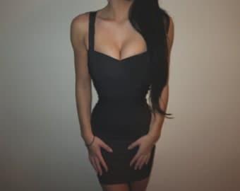 Backless Bodycon Bandage Dress - Black