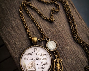 Thy word is a lamp unto my feet and a light unti my path glass dome necklace