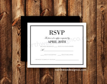 Modern Elegant Black and White Wedding Invitation RSVP Reply Card Printable Digital File or Printed