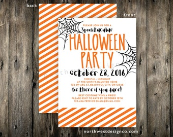 Halloween Party Invitation Orange Striped Halloween Invite Spider Web Spooktacular Halloween Party 5x7 Digital File or Printed